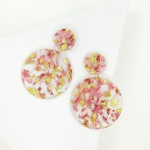 Circle Drop Earrings in Pink and Yellow
